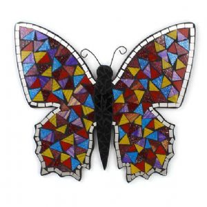 Mirror~ Hippy Bohemian Hand Made Assorted Colour Mosaic Butterfly Decorative Mirror~ By Folio Gothic Hippy BA563